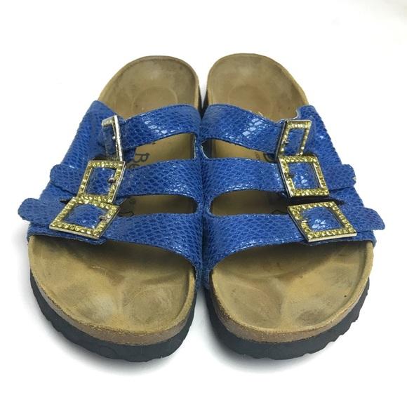 f1be067be86acb Birkenstock Shoes - Birkenstock Betula Blue Rhinestone Buckles 7   38